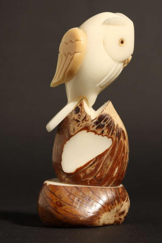 chouettes sculpt u00e9es sur noix  ivoire v u00e9g u00e9tal