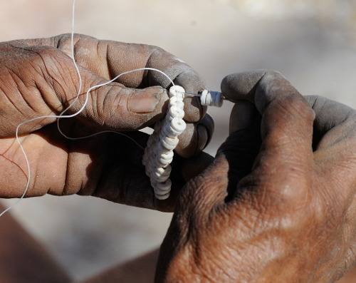 Jewellery with an ostrich egg, ostrich eggshell, bushmen tradition